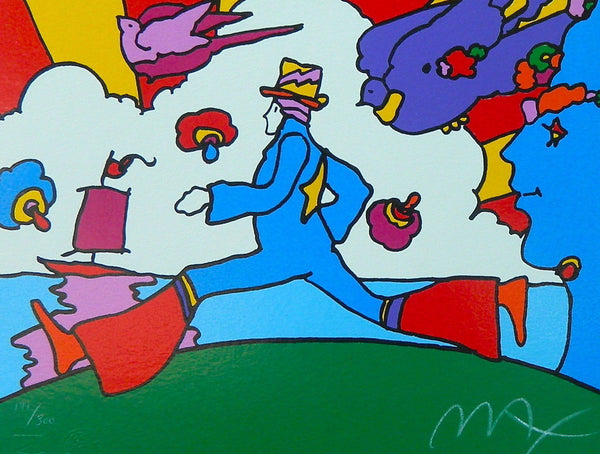 Cosmic Runner, Limited Edition Silkscreen, Peter Max - Fine Artwork