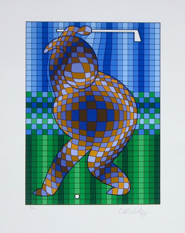 Golfer (Blue & Gold), Ltd Ed Silk-screen, Victor Vasarely