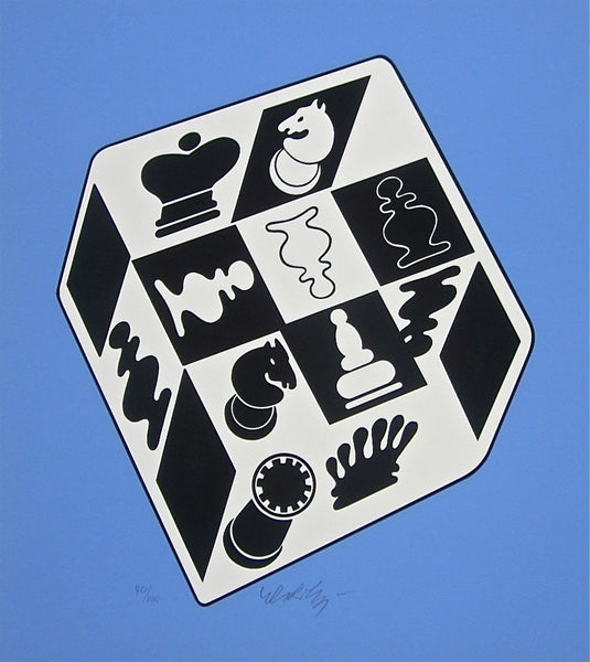 CHESS BLUE, Ltd Ed Silk-screen, Victor Vasarely - Fine Artwork