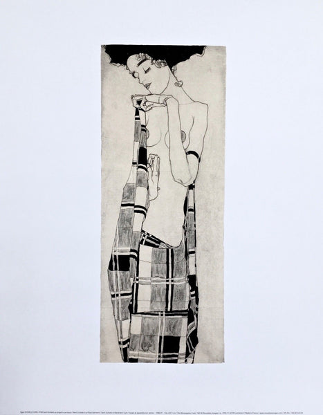 Gerti Schiele in Plaid Garment, Offset Lithograph, Egon Schiele