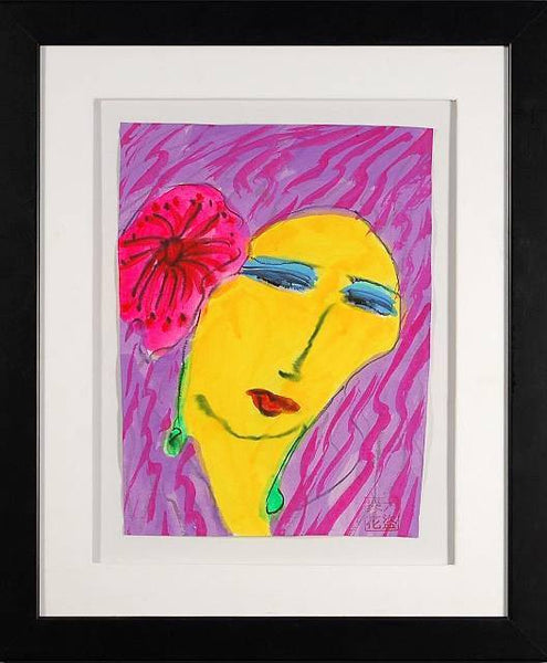 Yellow Woman with Pink Flower by Walasse Ting - Fine Artwork