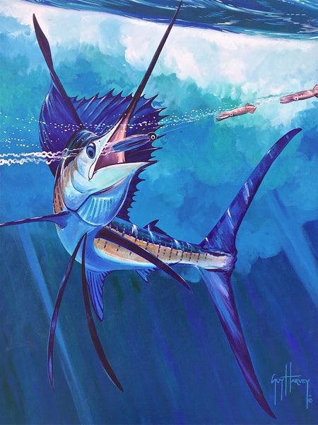 Marlin Catch, Original Acrylic Painting on Canvas, Guy Harvey - Fine Artwork