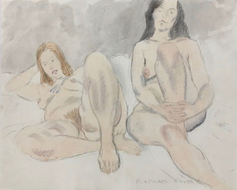 Two Nudes, Original Watercolor & Pencil Drawing, Raphael Soyer