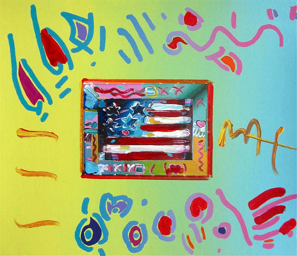 Flag, Original Mixed Media Painting, Peter Max