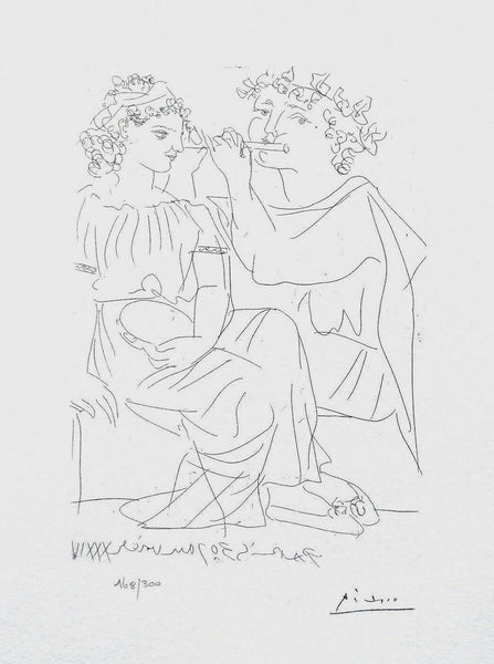 Flute Payer & Girl With Tambourine, Ltd Ed Lithograph, Pablo Picasso-Vollard