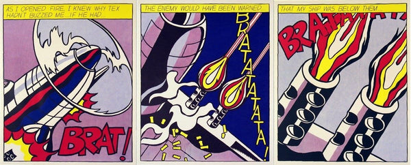 As I Opened Fire, Ltd Ed 3 Panel Offset Lithographs, Roy Lichtenstein - Fine Artwork