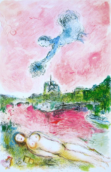 Veiw of Notre-Dame, 1981 Offset Lithograph, Marc Chagall - Fine Artwork
