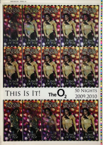 This Is It! Uncut 2009 Lenticular Concert Ticket Sheet Form 2,2A Michael Jackson
