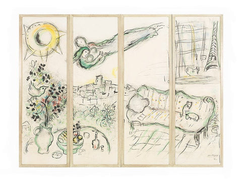 Paravent, Mounted Four Panel Color Lithograph, Marc Chagall - Fine Artwork