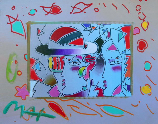 Zero Man in Love, Original Mixed Media Painting, Peter Max