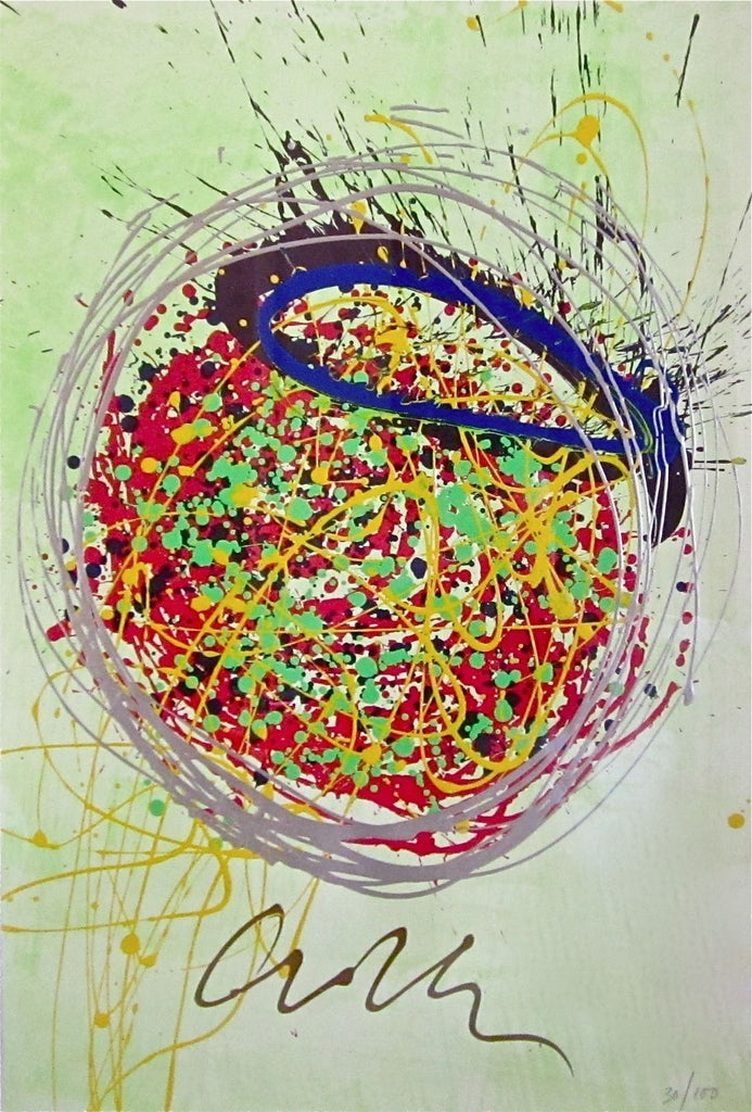 confetti blast painting lithograph acrylic limited edition
