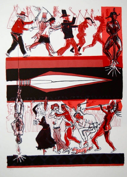 Cowboys & Indians, 1969 Limited Edition Lithograph, Warrington Colescott - Fine Artwork