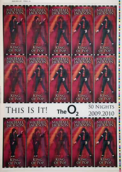 This Is It! Uncut 2009 Lenticular Concert Ticket Sheet Form 3,3A Michael Jackson