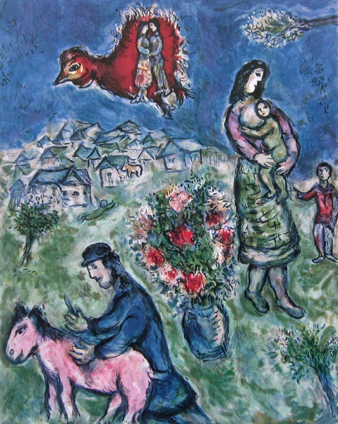 Sur la Route de Village, Ltd Ed Offset Lithograph, Marc Chagall - Fine Artwork