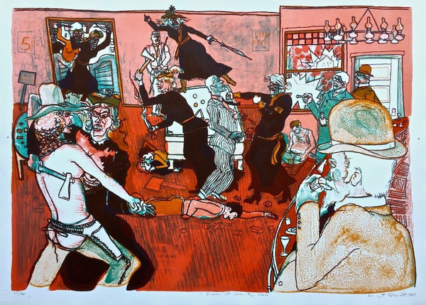 Fracas at Calamity's Place 1969 Limited Edition Lithograph Warrington Colescott