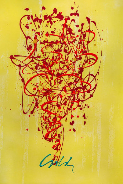 Chandelier Painting (Lithograph & Acrylic), Limited Edition, Dale Chihuly - Fine Artwork
