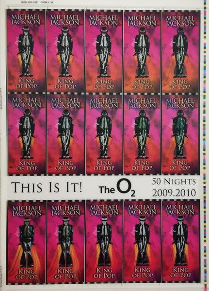 This Is It! Uncut 2009 Lenticular Concert Ticket Sheet Form 8,8A Michael Jackson