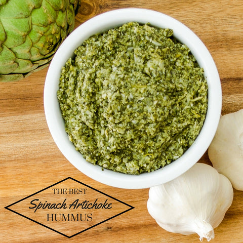 Delicious recipe for Spinach and Artichoke Hummus! Love spinach artichoke dip? This recipe for hummus from dried garbanzo beans is better and healthier to!