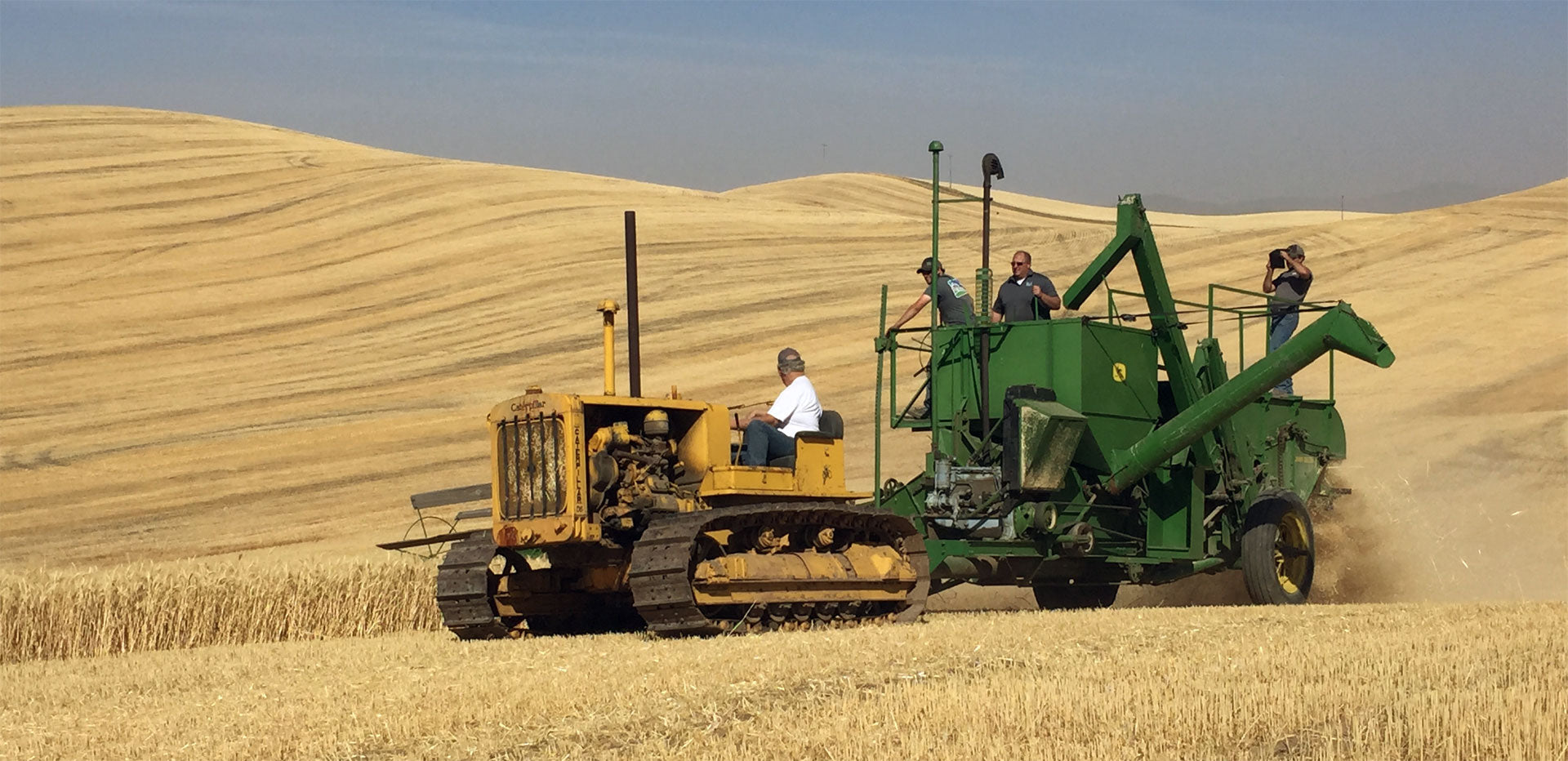 Pull tractor harvesting wheat on the Palouse.