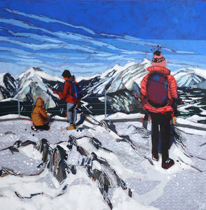 tourists on top of sulphur mountain - banff national park