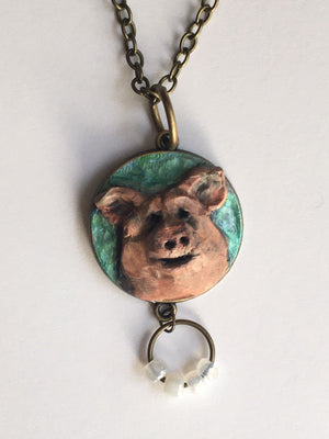 Necklace - Pig with Glass Pearls