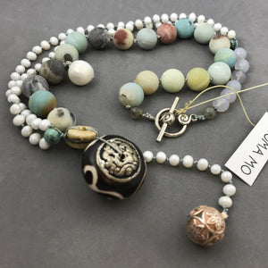 Necklace with amazonite, pearl & zen bead