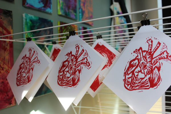 Linocut Card - Anatomical Heart