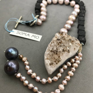 Necklace with lava, amethyst, pearl