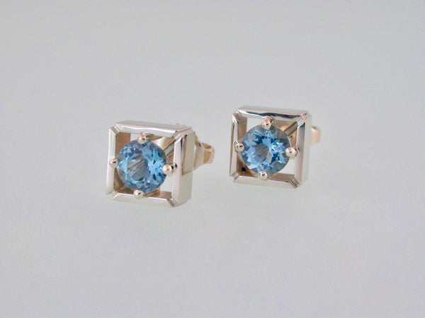 Ear Studs White Gold with Aquamarines