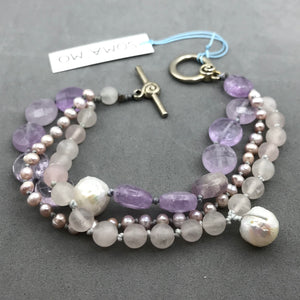 Bracelet with amethyst, rose quartz & agate