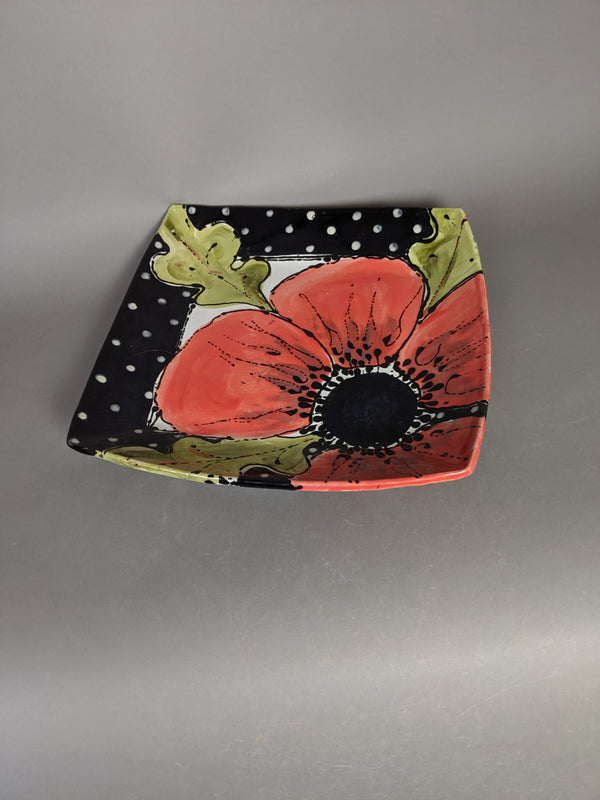 Square Red Poppy Plate