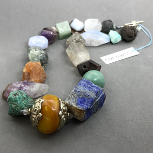 Necklace with Lapis, amythyst, agate, jade, quartz