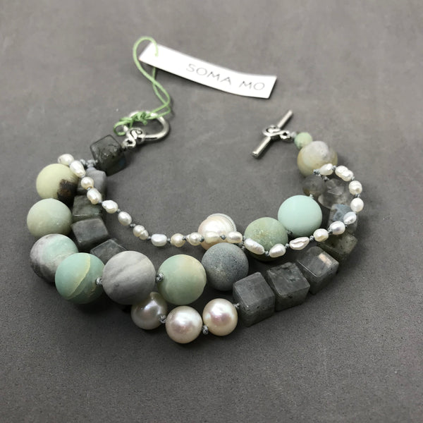 Bracelet with amazonite, labradorite & pearl