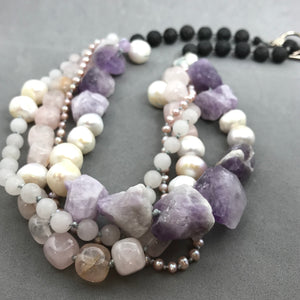 Necklace with amethyst, rose quartz, pearl, lava