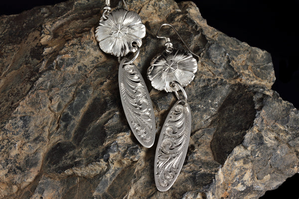 Earrings - Flower with Oval