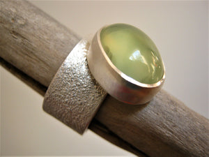 Prehnite on Wide Band Ring