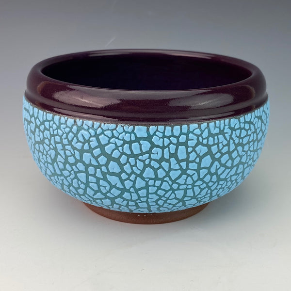 Blue Cereal Bowl with Purple Inside