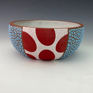 Blue Serving Bowl with Red Spots