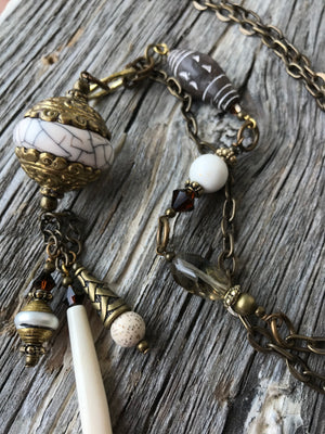 Boho Necklace - Tibetan Conch Shell, Clay, Bone, Magnesite & Crystal