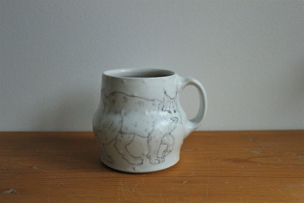 Sm. China Painted Mug - Bobcat