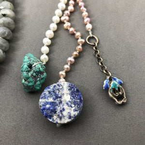 Necklace with labradorite, freshwater pearls, lapis, silver & turquoise