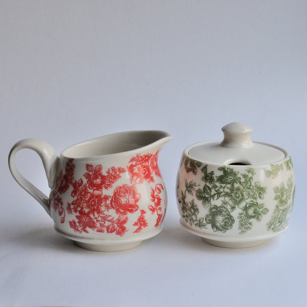 Sugar & Creamer Set - Red/Green