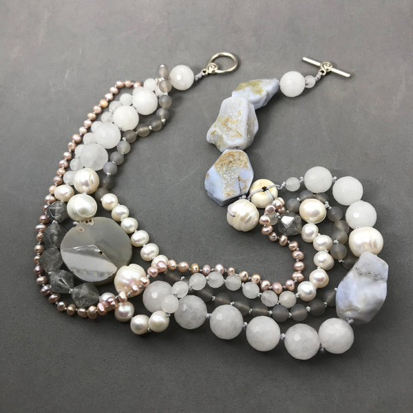 Necklace with agate, blue lace agate & freshwater pearls