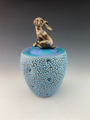 Bunny Sugar Bowl with Blue Lid