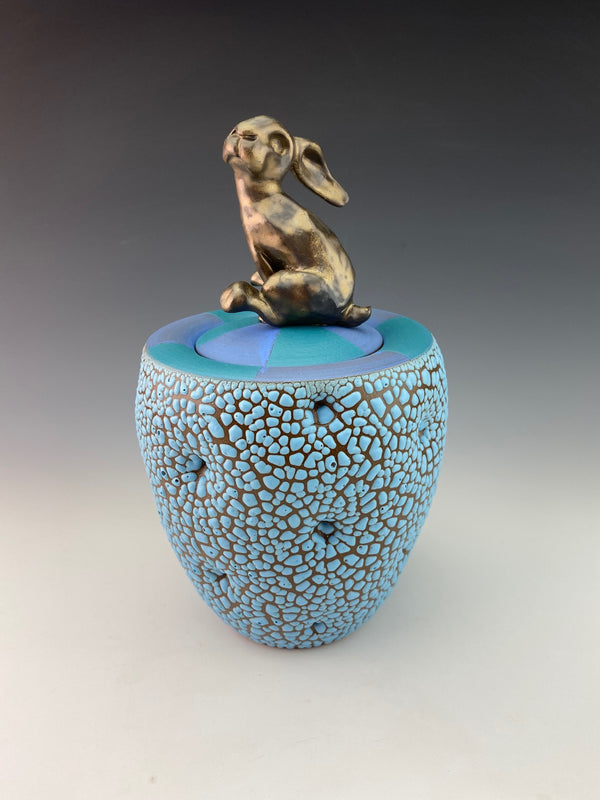 Rabbit Pot with Blue Lid and Bronze Bunny