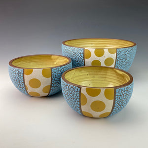 Cereal Bowls with Gold Polka Dots