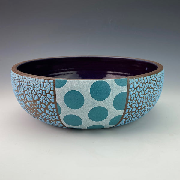 Shallow Blue Serving Bowl with Purple Inside