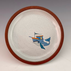 Decal Dish - Whale with Blue Boat