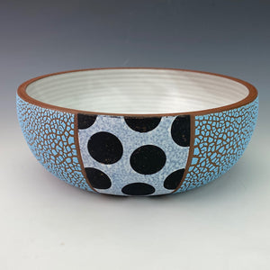 Blue Serving Bowl with Black Spots