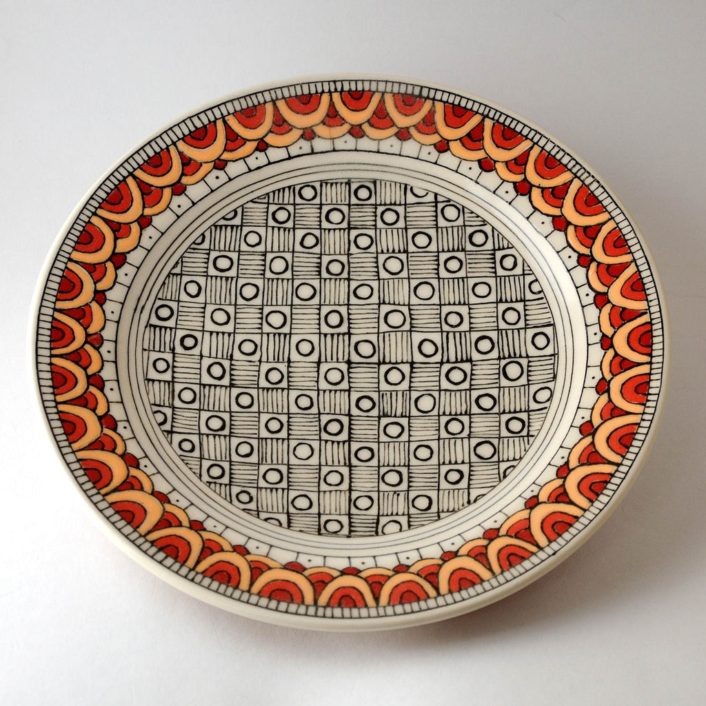 Porcelain Plate, Red Scale Design